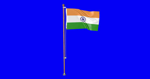 flag indian pole indian india indian flag waving pole waving india waving flag green screen pole Animation