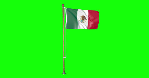 flag mexican pole mexican Mexico mexican flag waving pole waving Mexico waving flag green screen Animation