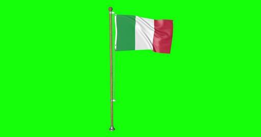flag italian pole italian Italy italian flag waving pole waving Italy waving flag green screen pole Animation