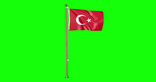 flag turkish pole turkish Turkey turkish flag waving pole waving Turkey waving flag green screen Animation