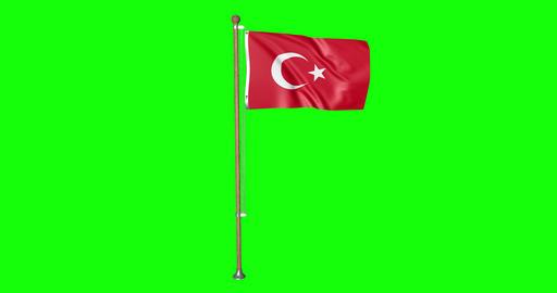 flag turkish pole turkish Turkey turkish flag waving pole waving Turkey waving flag green screen Animation
