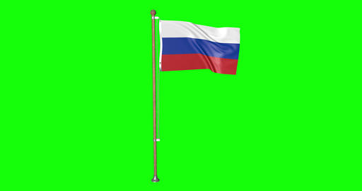 flag russian pole russian Russia russian flag waving pole waving Russia waving flag green screen Animation