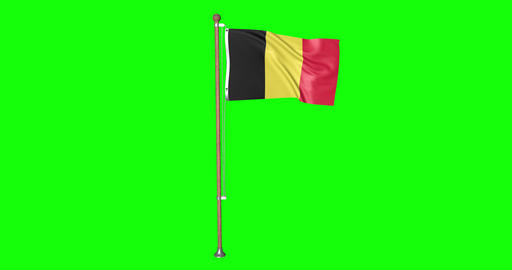 flag belgian pole belgian Belgium belgian flag waving pole waving Belgium waving flag green screen Animation
