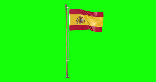 flag spanish pole spanish Spain spanish flag waving pole waving Spain waving flag green screen pole Animation