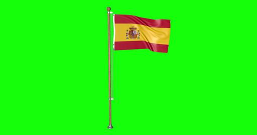 flag spanish pole spanish Spain spanish flag waving pole waving Spain waving flag green screen pole Animation