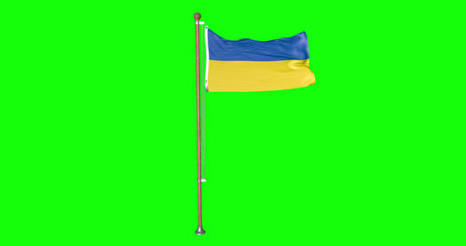 flag ukrainian pole ukrainian Ukraine ukrainian flag waving pole waving Ukraine waving flag green Animation