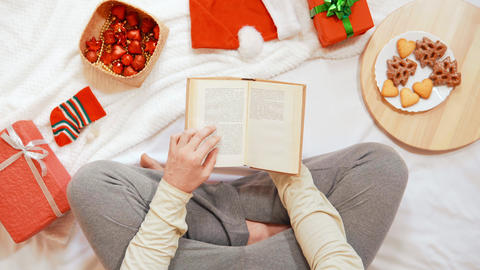 top view male leisure time at home Christmas holidays Live Action