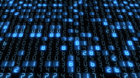 Hexadecimal big data digital code running through black and blue mainframe in a futuristic CG動画