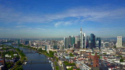 AERIAL: Towards Frankfurt am Main, Germany with Main River on beautiful Sunny Live Action