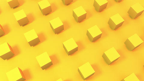3D animation of seamless loop background of sunny bright yellow cubes rotating. Great for Animation