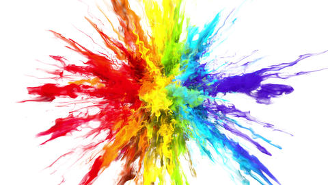 Color Burst - colorful rainbow smoke powder explosion fluid ink particles alpha Animation