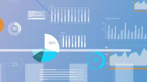 Business tax data stock market visualization showing pie charts, numbers and graphs in white and Animation