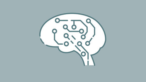 AI Brain line icon on the Alpha Channel Animation