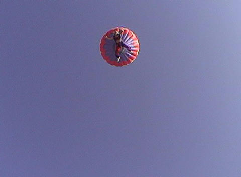 A skydiver free-falls from a hot air balloon Live Action