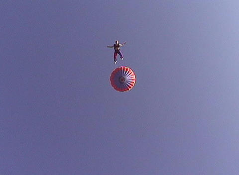 A skydiver free-falls from a hot air balloon Stock Video Footage