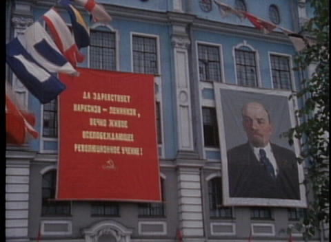 A shot of Lenin is displayed on a building in Moscow in... Stock Video Footage