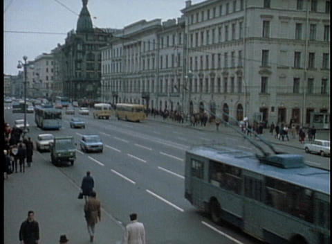 A street scene in Moscow from the 1970s Stock Video Footage