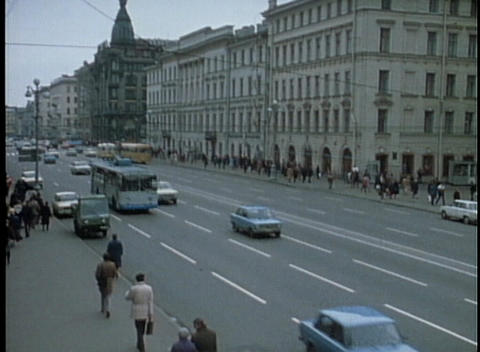 A Street Scene In Moscow From The 1970s stock footage