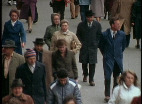 A street scene in Moscow from the 1970's with Russian... Stock Video Footage