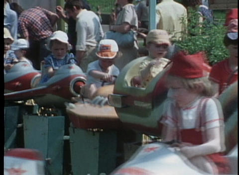 An out of date roller coaster rocket ride in an amusement... Stock Video Footage