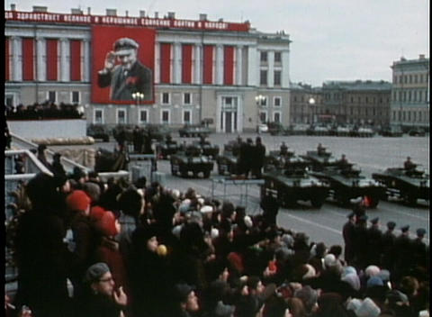 Troops parade with tanks and bombs at an old Soviet... Stock Video Footage