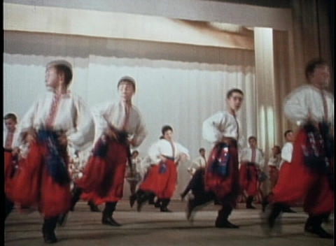 Russian or Eastern European dancers perform a traditional dance Footage