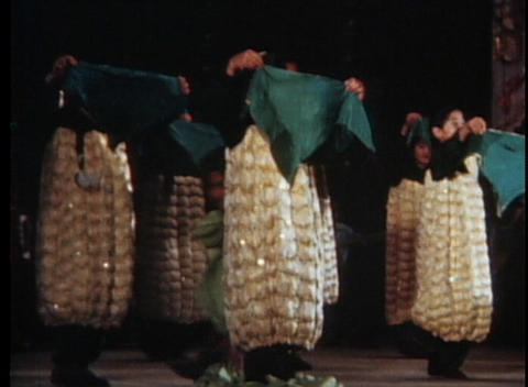 Children perform in an out of date talent show dressed as ears of corn Footage