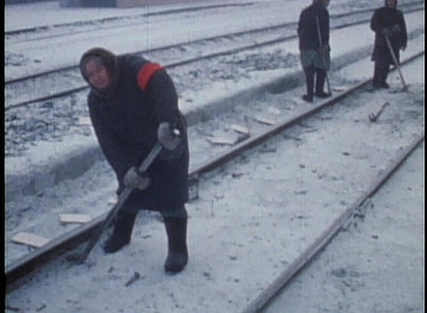 Siberian peasant workers build a railroad in the snow in this archival shot from the former Soviet U Footage