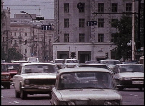 Traffic moves along a road in Moscow in the former... Stock Video Footage