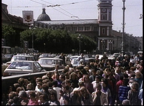Crowds mill on the streets of the old Soviet Union in this archival shot Footage