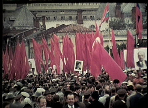 A Communist rally on the streets of Moscow in the former Soviet Union Footage
