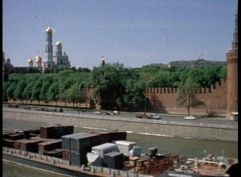 A cargo barge passes St. Petersburg, Russia in this old... Stock Video Footage