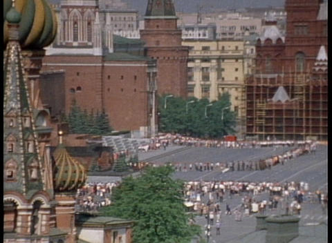 An archival shot overlooking Red Square in Moscow and the... Stock Video Footage