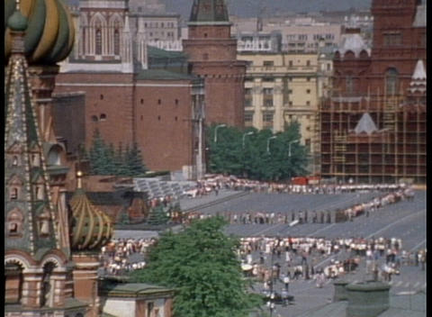 An archival shot overlooking Red Square in Moscow and the Onion Domes Footage