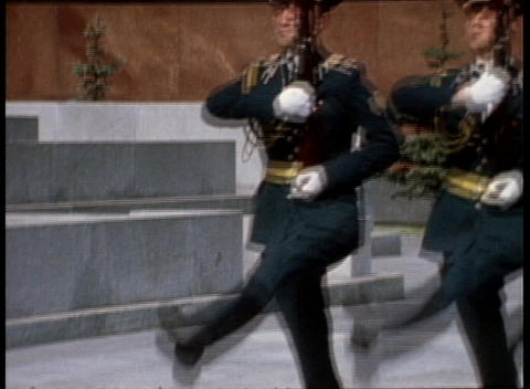 An archival shot of soldiers marching in front of Lenin's... Stock Video Footage