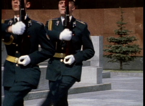 An archival shot of soldiers marching in front of Lenin's Tomb in Moscow, Russia Footage