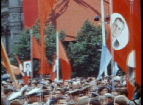 A Communist parade on the streets of Moscow in the 1970's Stock Video Footage
