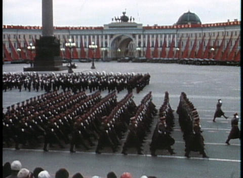 Soviet troops march in a grand parade during the Cold War Footage