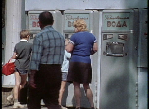 Russian citizens use out of date vending machines Stock Video Footage
