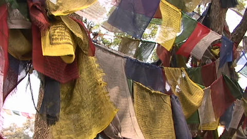 Prayer flags blowing in the wind Stock Video Footage