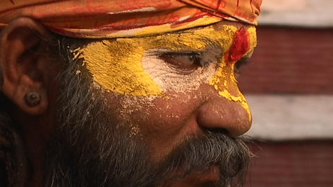 Hindu Sadhu - (Holy man) chanting at Pashupati Temple in Kathmandu Footage