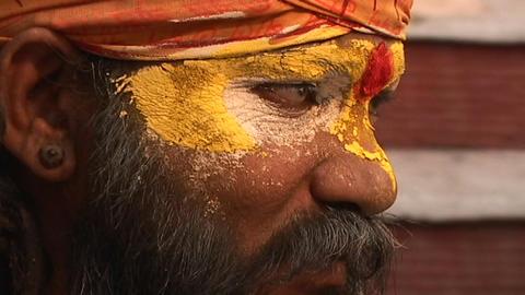 Hindu Sadhu - (Holy man) chanting at Pashupati Temple in Kathmandu Footage