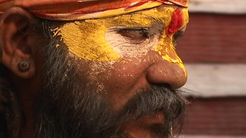 Hindu Sadhu - (Holy man) chanting at Pashupati Temple in... Stock Video Footage