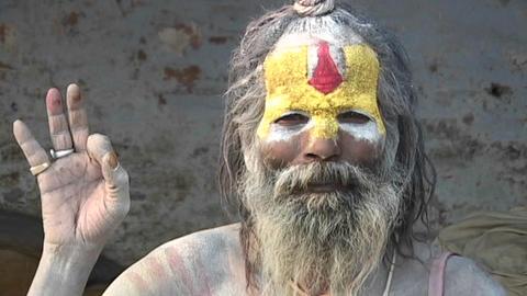 Hindu Sadhu - (Holy man) posing with religious hand... Stock Video Footage