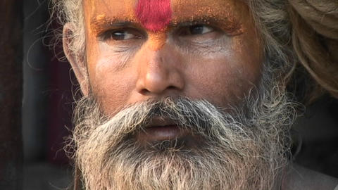 Close up on the face of a Hindu Sadhu - (Holy man)at... Stock Video Footage