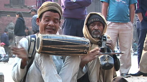 Nepalese musicians playing traditional Nepalese music in... Stock Video Footage