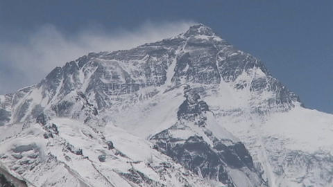 Clouds blowing off the North Face of Mt. Everest Stock Video Footage