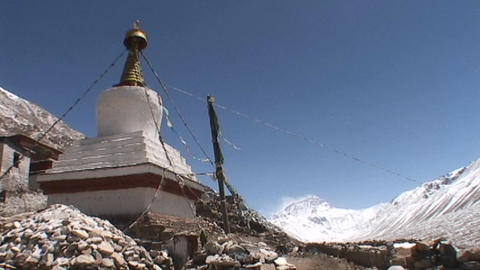 Rongbuk Monastery stupa with Mt. Everest in the background Stock Video Footage