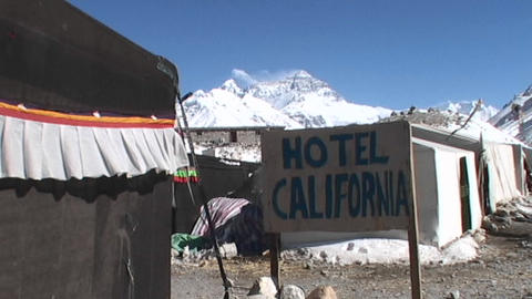 Hotel California sign with Mt. Everest in the background Stock Video Footage