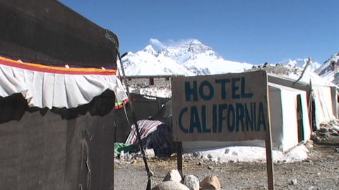 Hotel California Sign With Mt. Everest In The Background stock footage